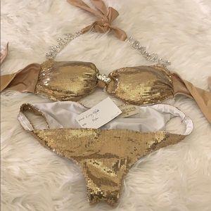 Gold sequin and jeweled bikini